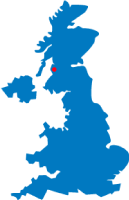 Map of the UK pinpointing Stevenston
